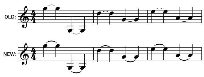 Screenshot of note ties in music notation, before and after