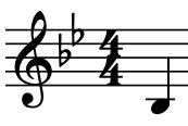 Screenshot of a B flat note