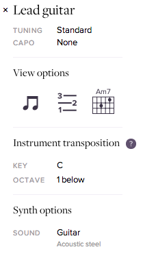 Screenshot of instrument transposition section