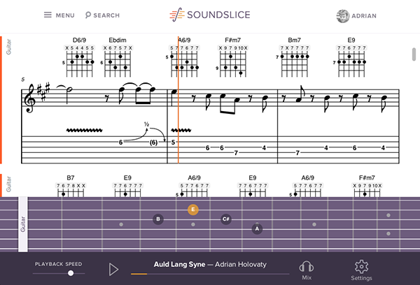 Screenshot of interface with fretboard