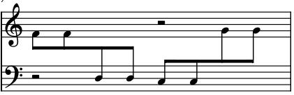 Screenshot of cross-staff beam notation